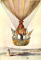 James Sadler in his hot air balloon above Dubliln lighthouse, 1810