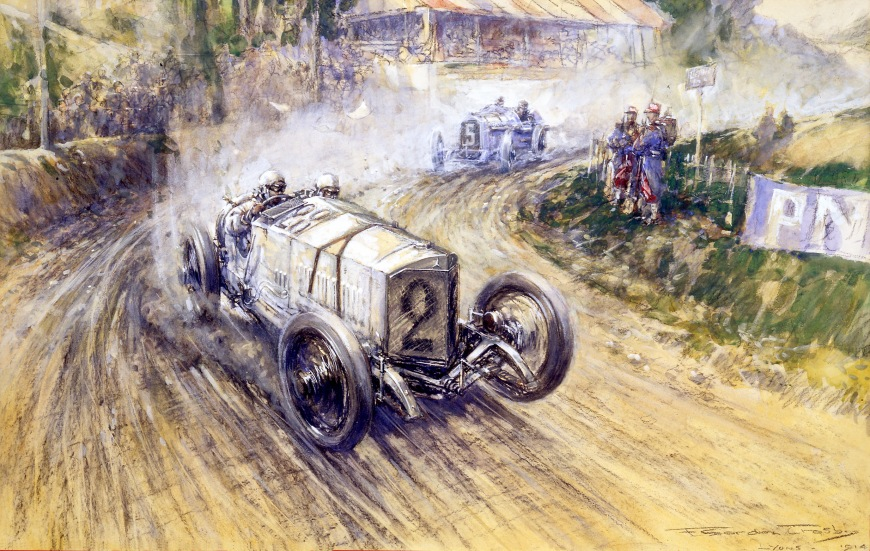 Christian Friedrich Lautenschlager in a Mercedes in the 1914 French Grand Prix