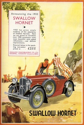 Swallow Hornet car advertisement, 1933