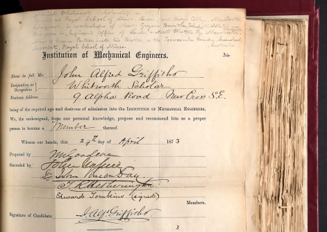 John Alfred Griffiths membership form