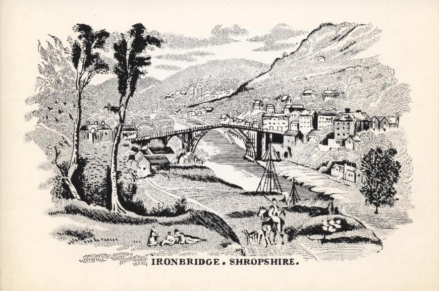 Lithograph of Ironbridge, the first iron bridge to be constructed, 1779. Christmas 1974.