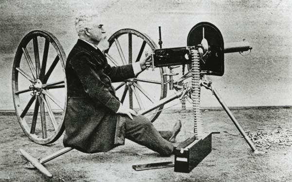 Hiram Maxim and gun